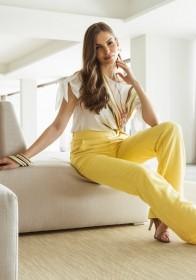 Calça Viscolinho Amarela