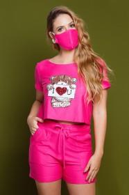 Conjunto Cropped e Short com Máscara Pink