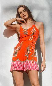 Macacão Curto Estampa Barrada Vermelho