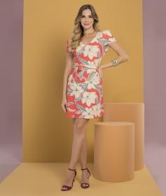 Vestido Curto Estampado Coral Floral Plus Size