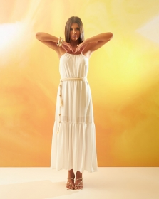 Vestido Longo Branco com Cinto