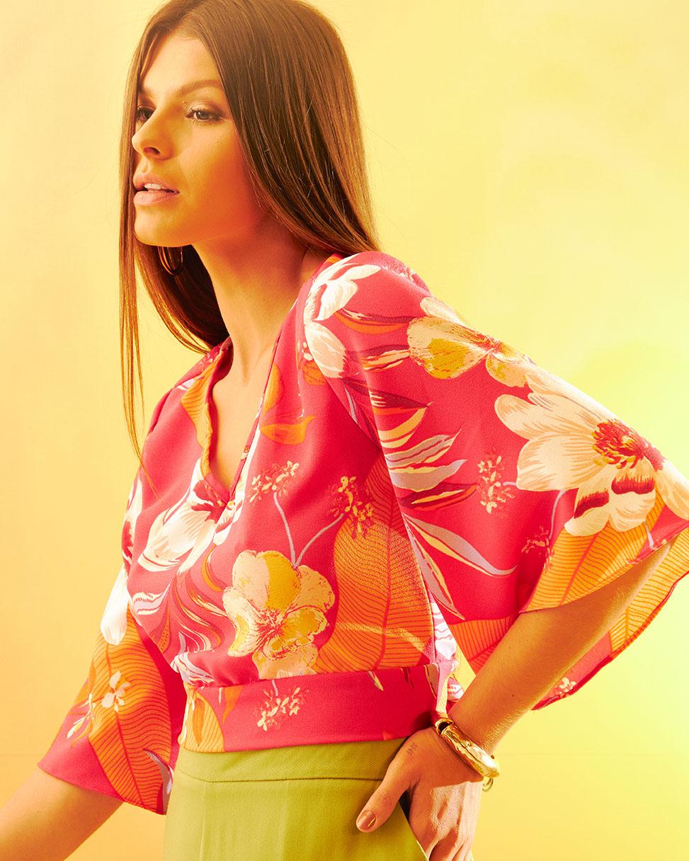 Blusa Cropped Decote Costas Estampa Floral