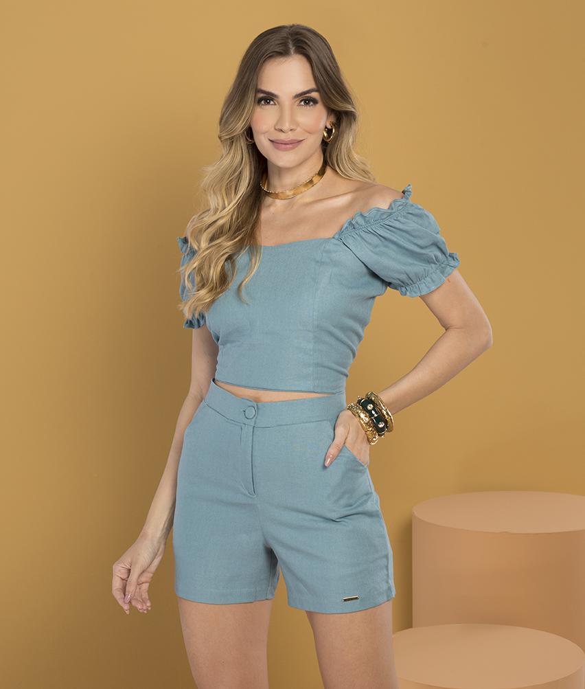 Blusa Cropped Linho Azul