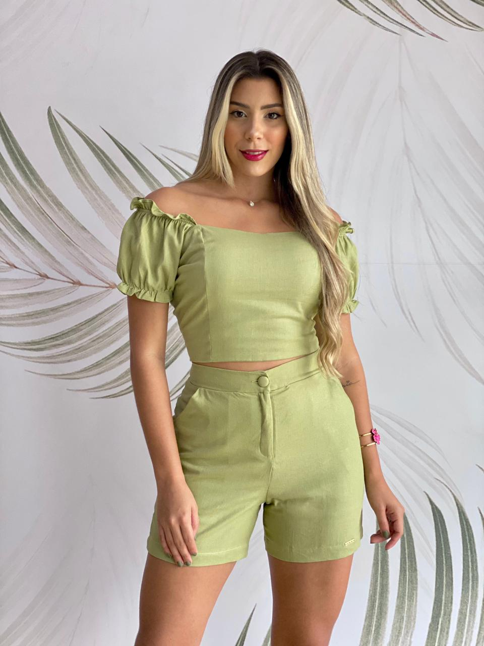 Blusa Cropped Linho Verde Oliva
