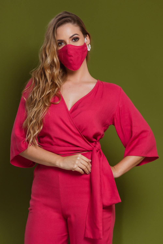 Blusa Cropped Transpassada com Máscara Pink
