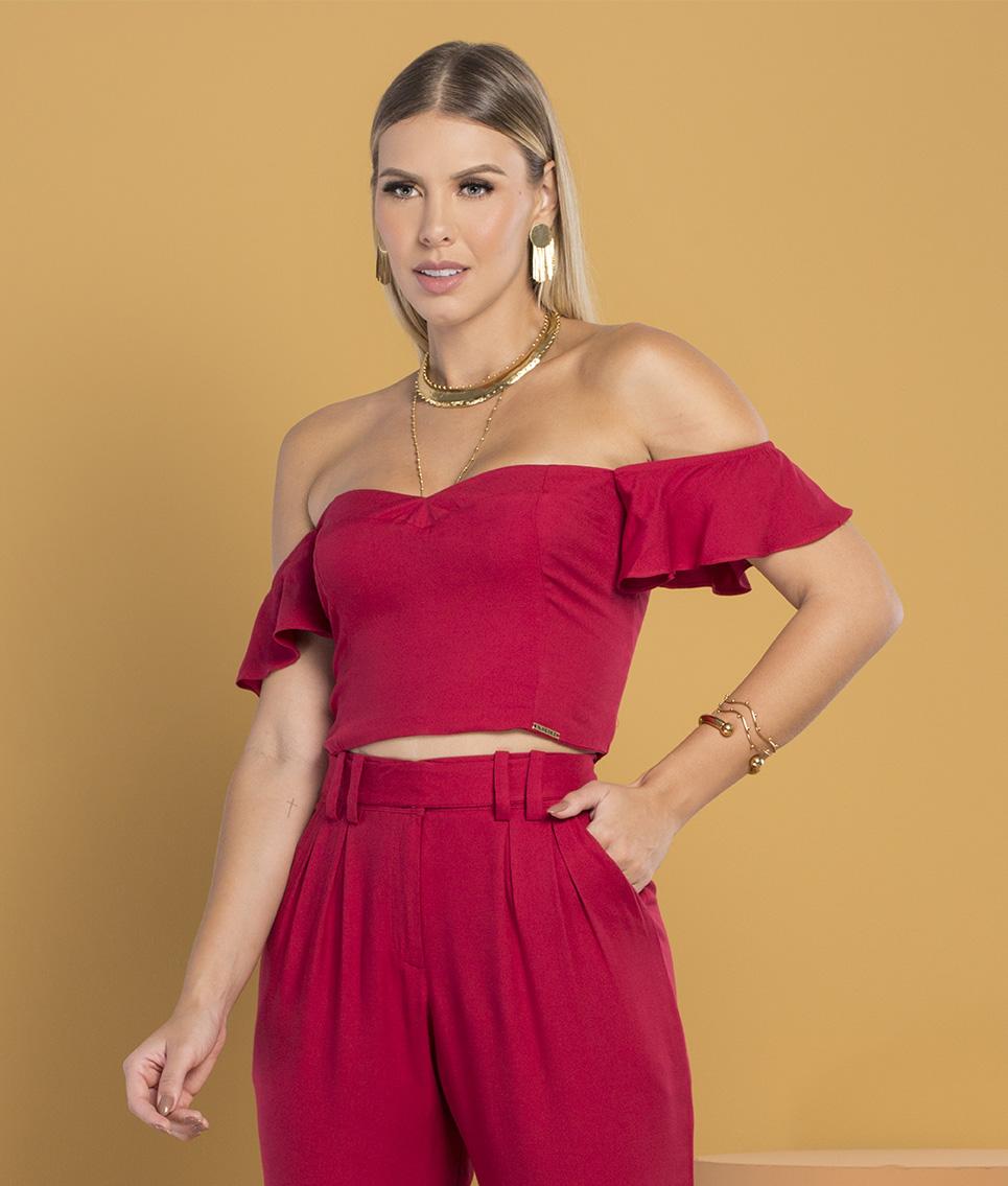 Blusa Cropped Vermelho Escuro