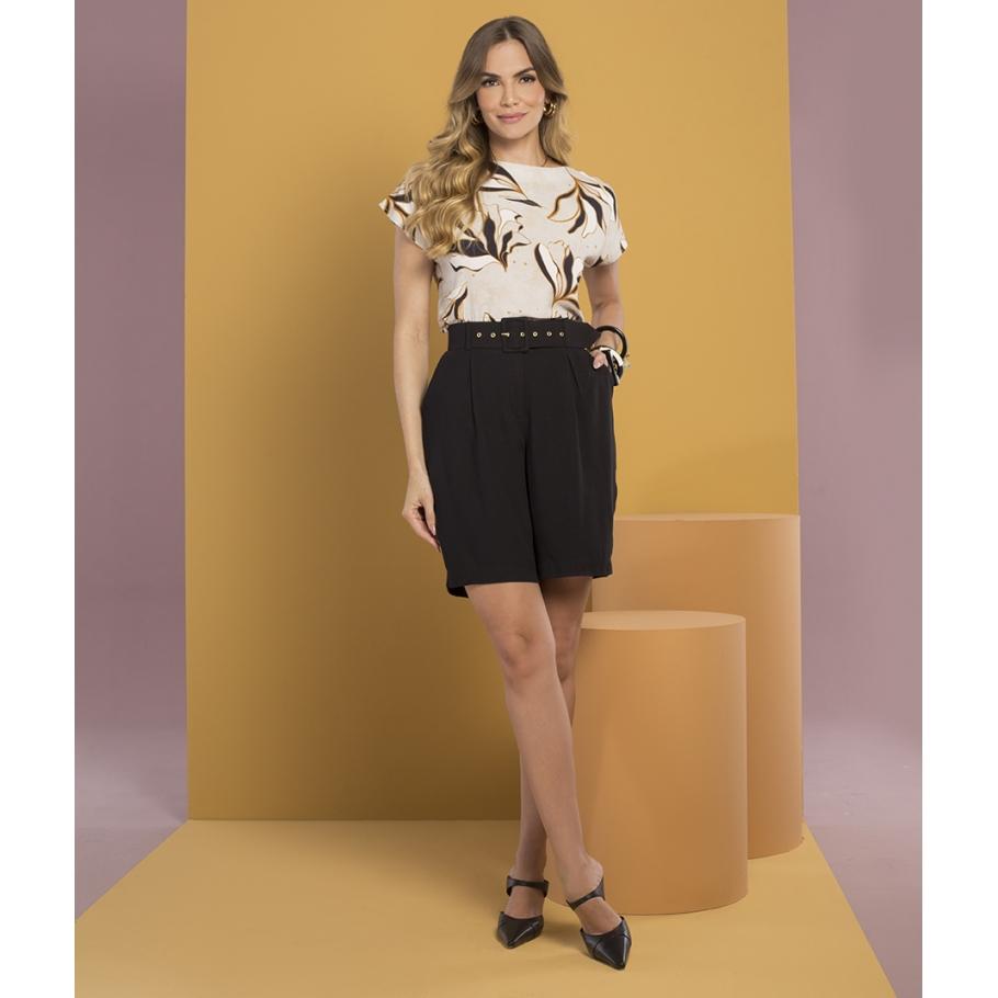 Blusa Estampa Folhas Plus Size