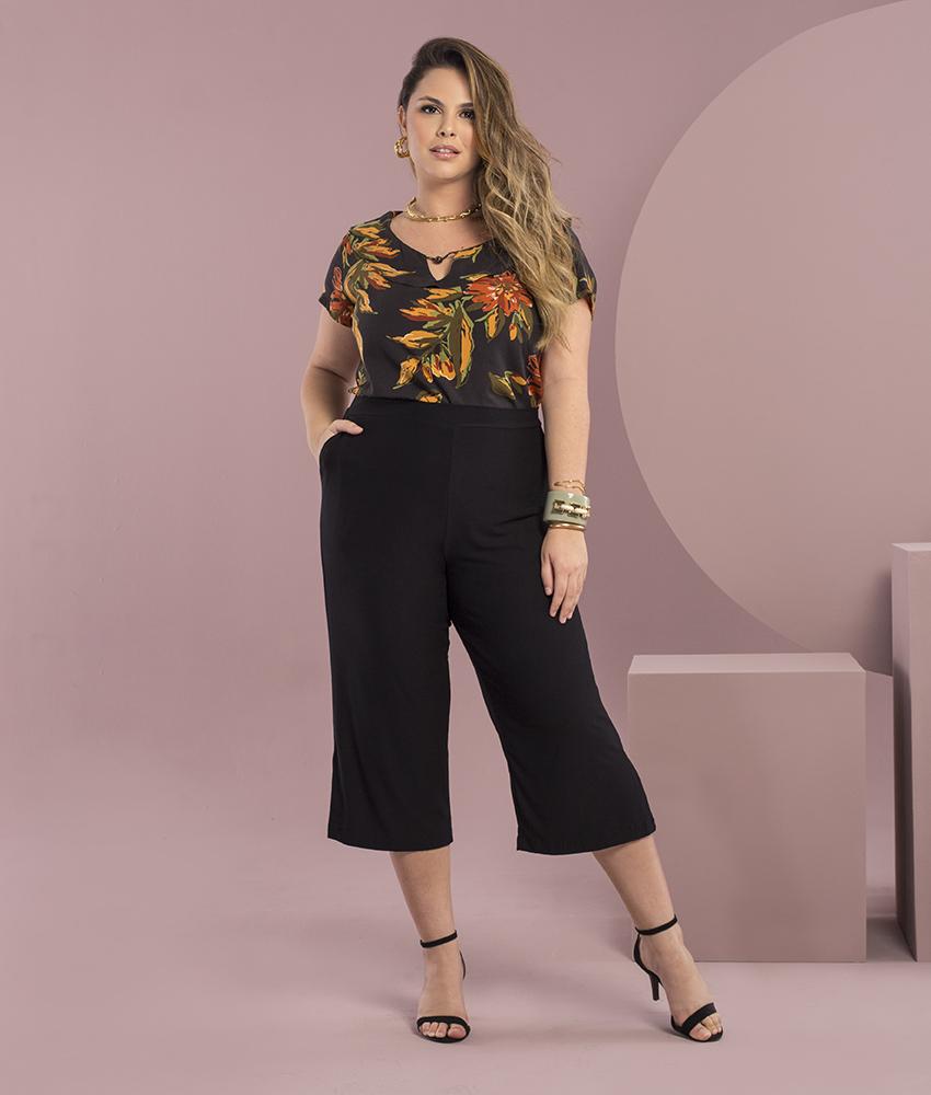 Blusa Estampada Preta Plus Size