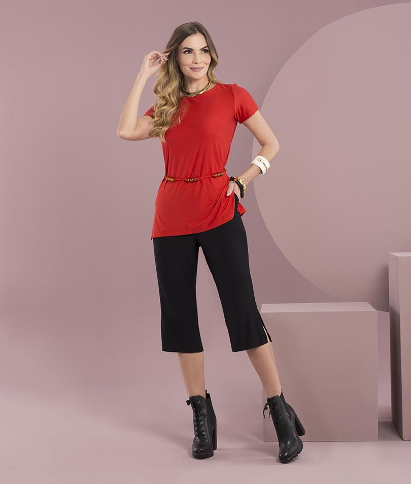 Blusa Malha com Cinto Vermelha