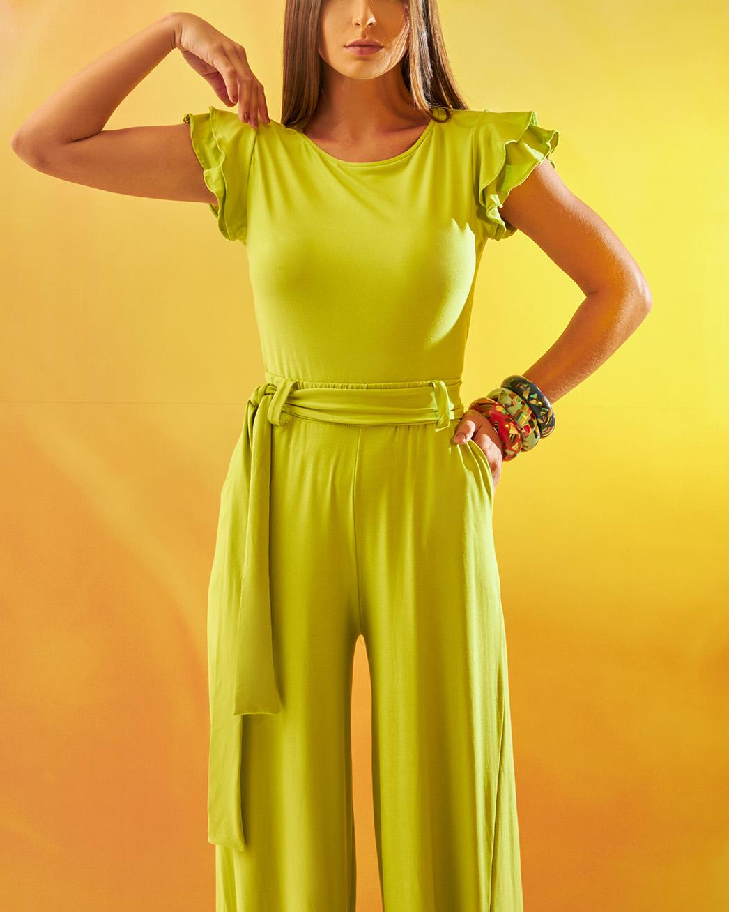Calça Pantalona Verde Maçã em Malha Confort