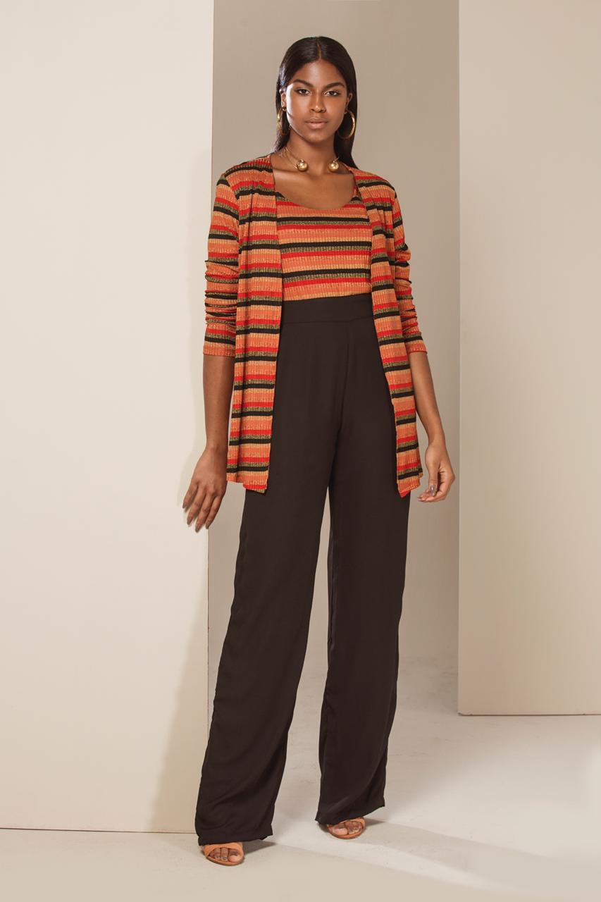 4b23f6580 Conjunto Cardigan Listrado - VANKOKE - Moda Feminina - Vestidos ...