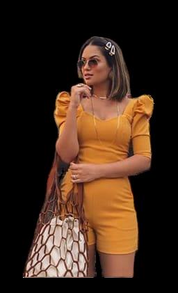 Conjunto Blusa Cropped e Short Caramelo