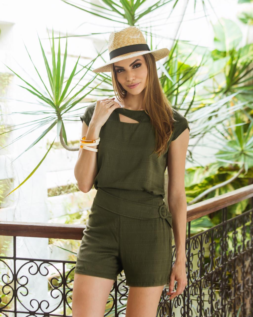 Conjunto Curto Blusa e Short Verde e Azul Marinho