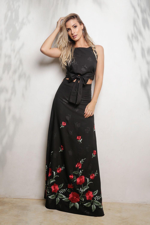 3d6516a55 Conjunto Cropped e Saia Longa - VANKOKE - Moda Feminina - Vestidos ...