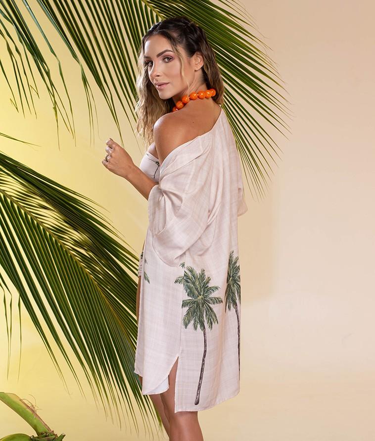 Conjunto Trimix Kimono e Biquíni Coqueiros