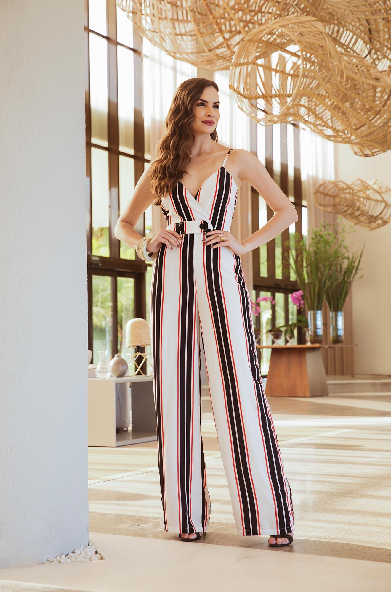 1331d047b Macacão longo listra - VANKOKE - Moda Feminina - Vestidos