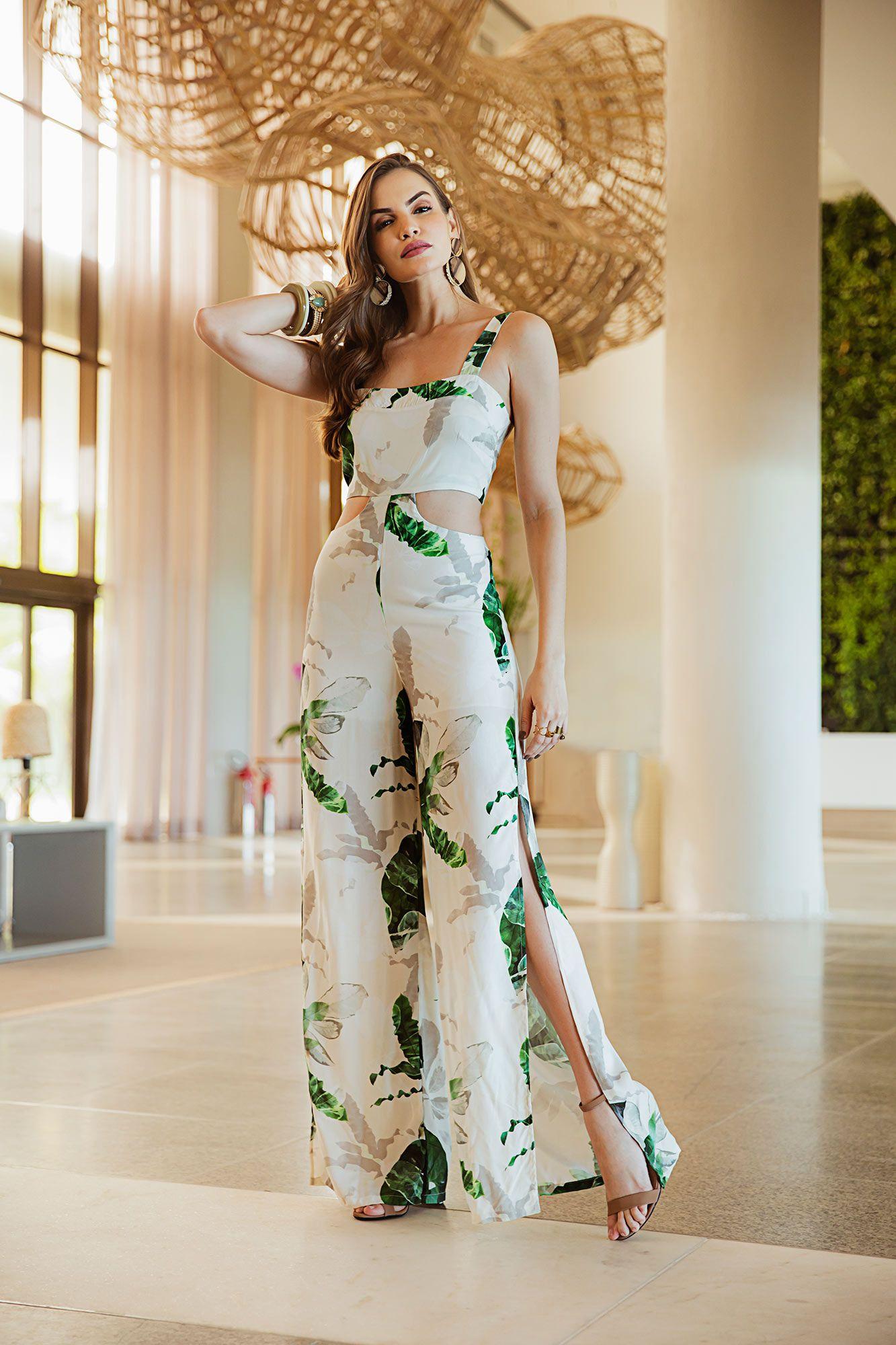 4d0183490 Macacão longo estampado branca e verde - VANKOKE - Moda Feminina ...