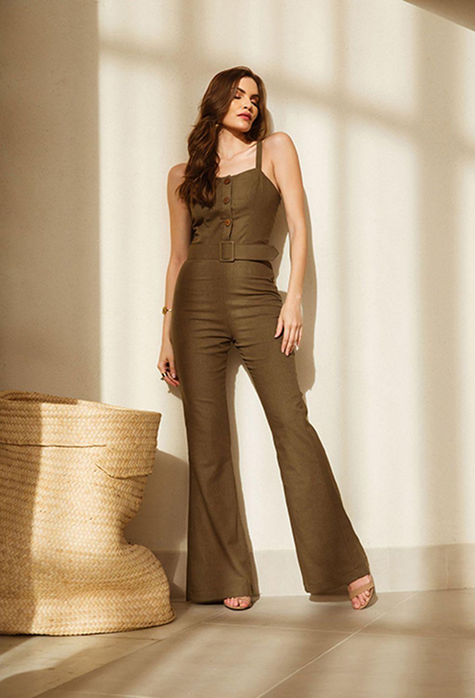 4a3a33423 Macacão longo liso botões e cinto - VANKOKE - Moda Feminina ...