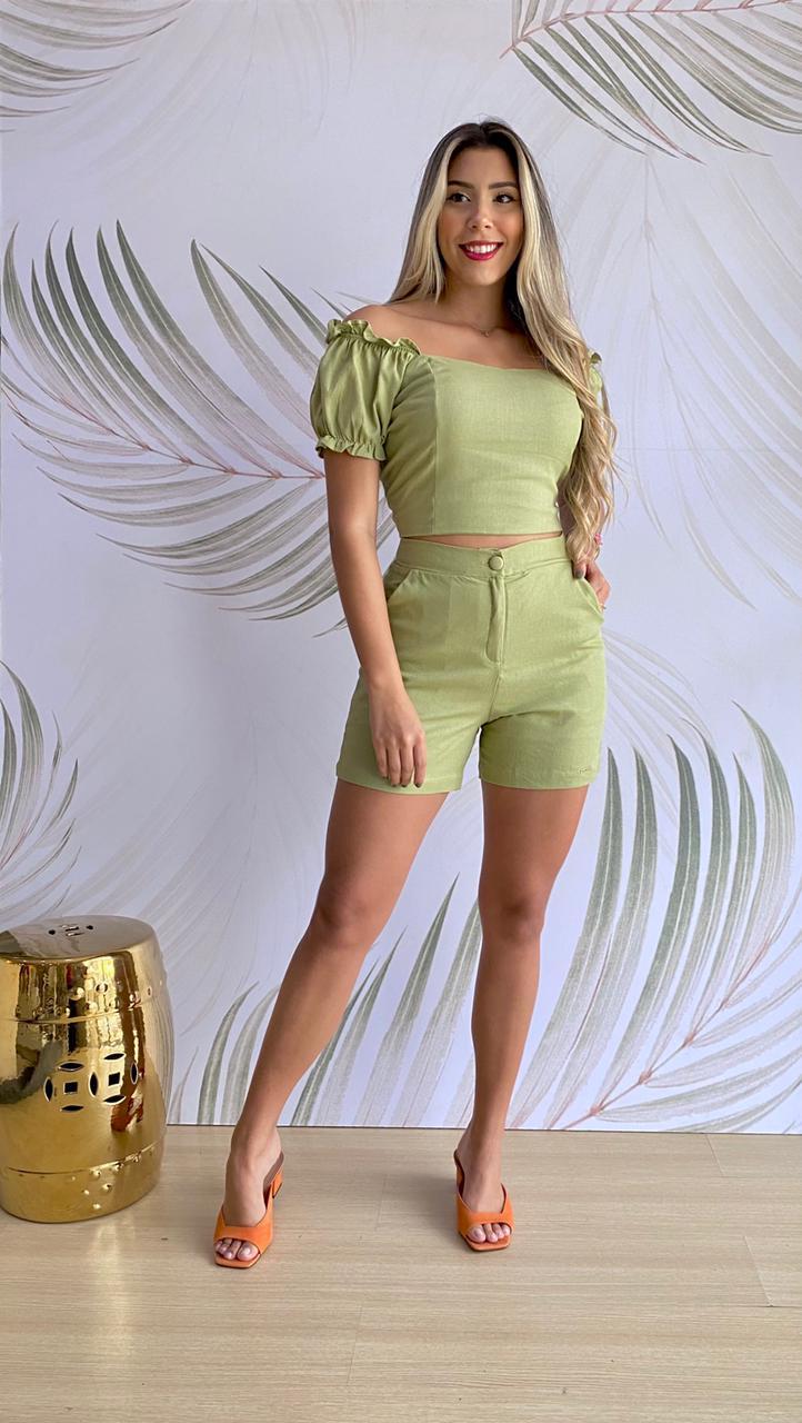 Short Linho Verde Oliva