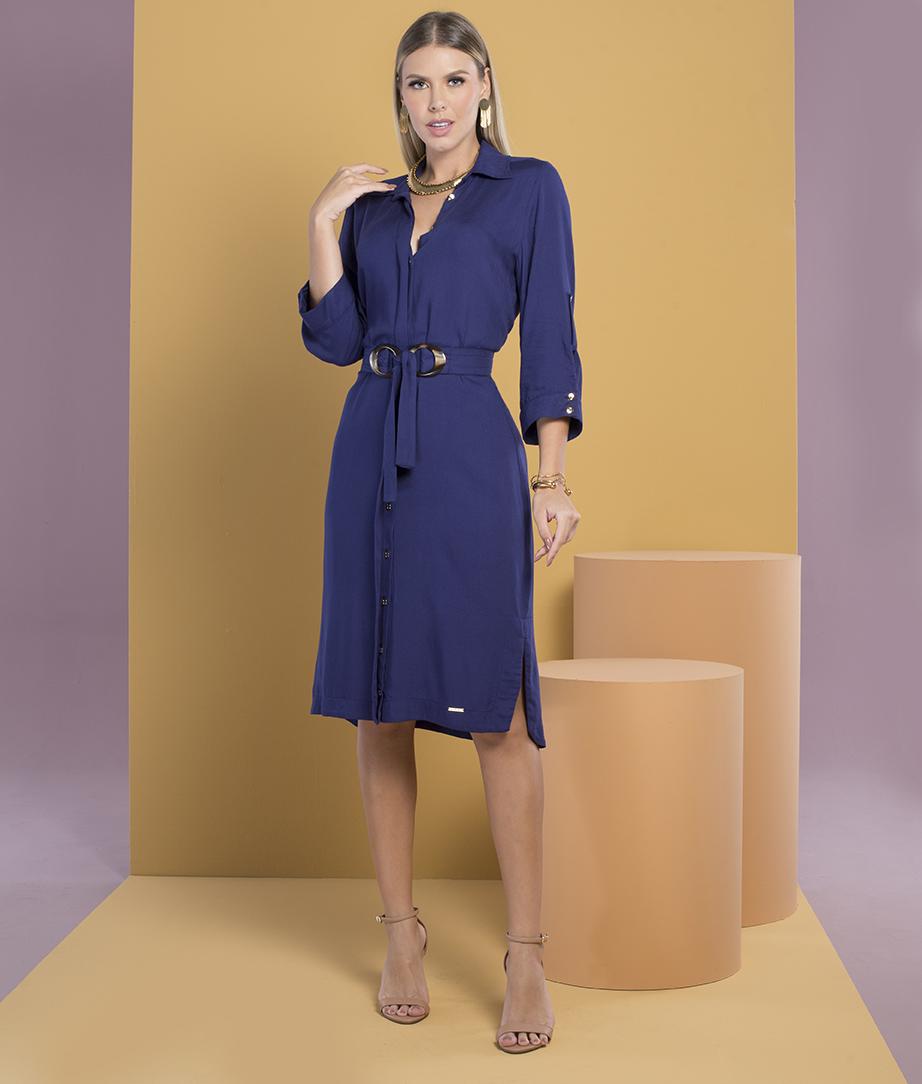 Vestido Chamisie Plus com Cinto Azul