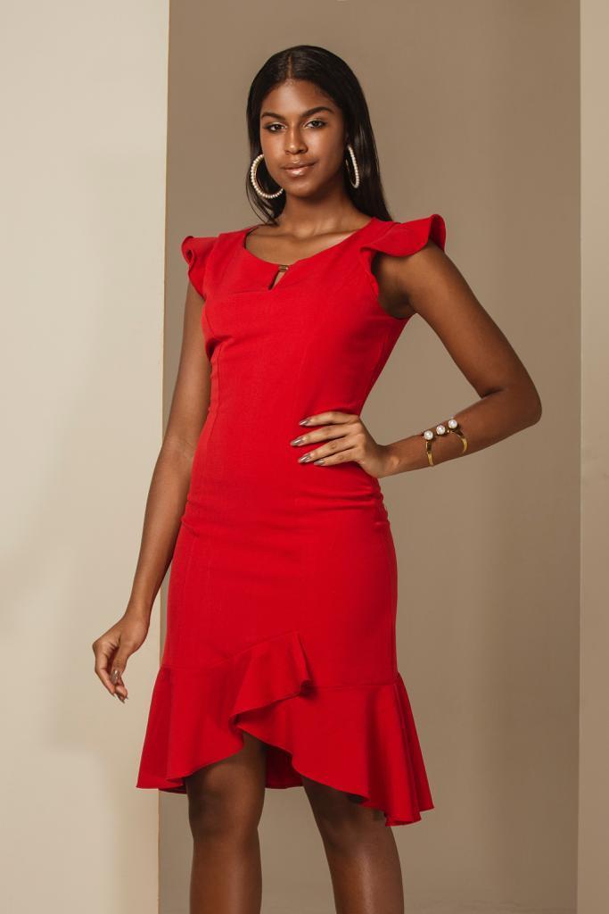 6f73a36a64 Vestido Chanel com Fenda no Babado Vermelho - VANKOKE - Moda ...