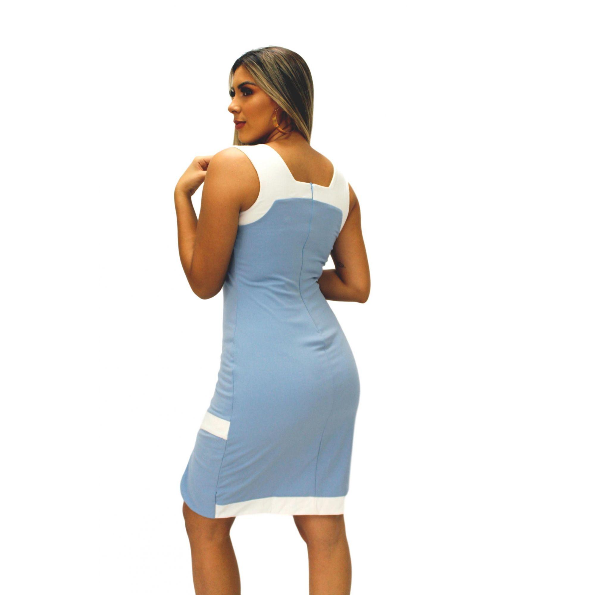 Vestido Curto Bicolor Azul\Branco