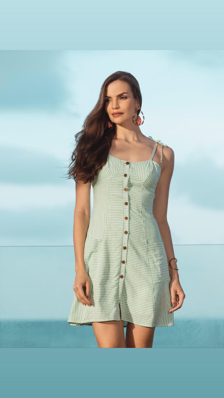 36ec9d19b Vestido Curto Listrado - VANKOKE - Moda Feminina - Vestidos, Blusas ...