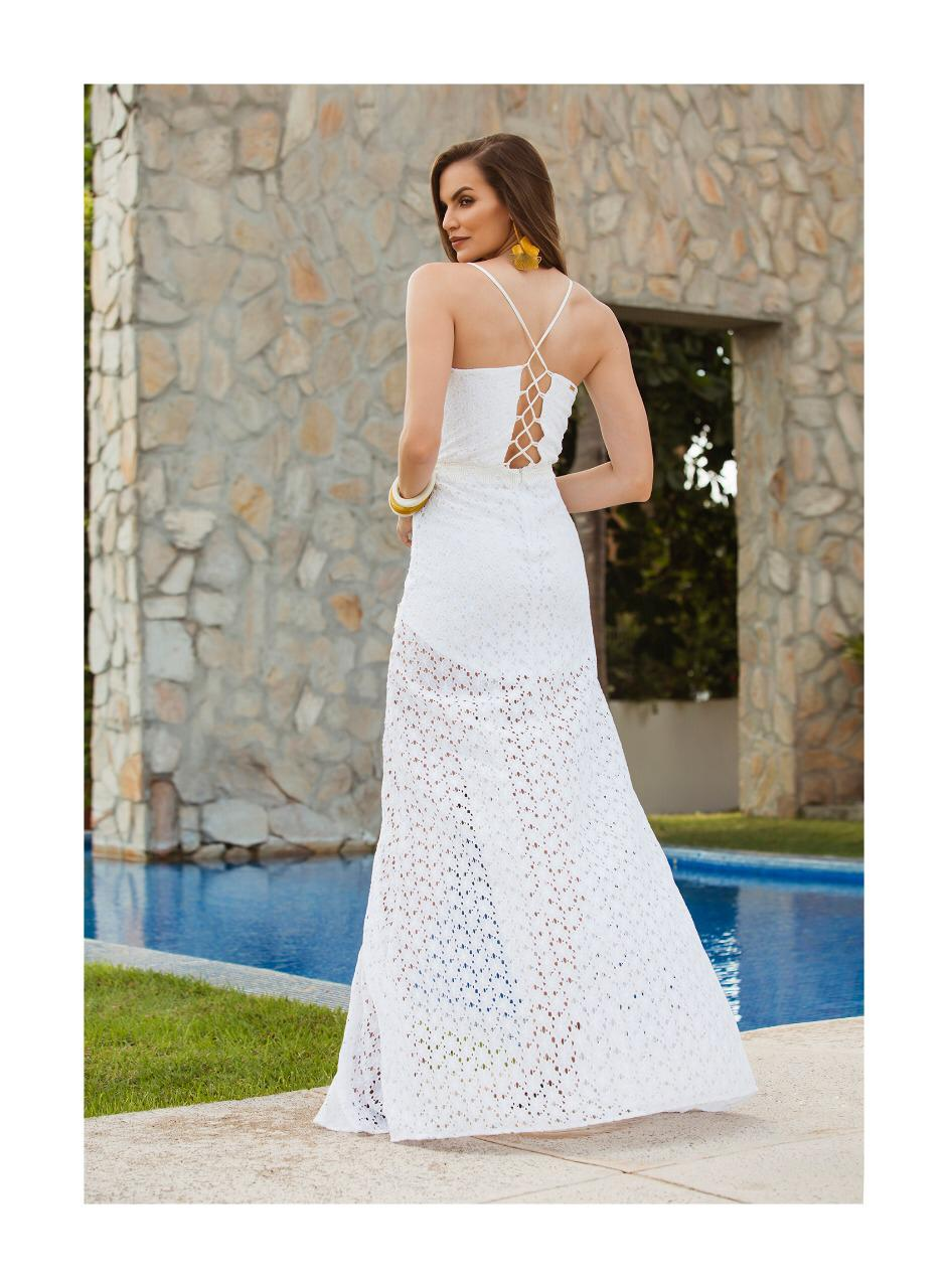 Vestido de Renda com fenda branca