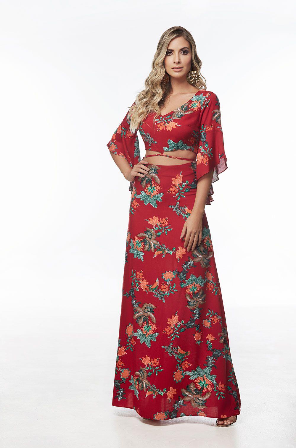 6b53633b53 Vestido Longo Estampado em Viscose Vermelho - VANKOKE - Moda ...