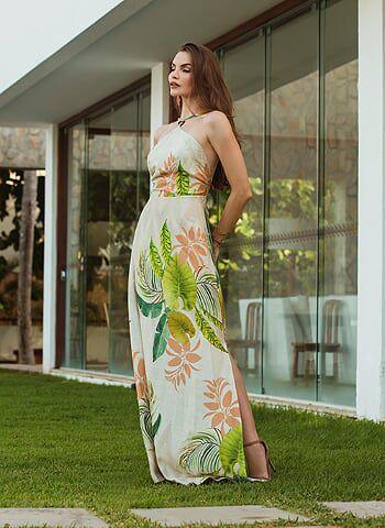 1b3345b17f Vestido longo estampado detalhe - VANKOKE - Moda Feminina - Vestidos ...