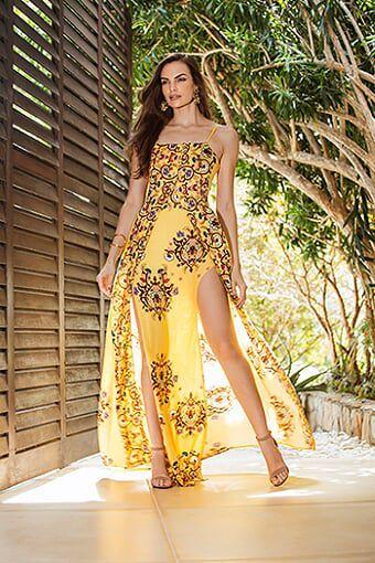 Vestido Longo com abertura frontal estampado cor amarela