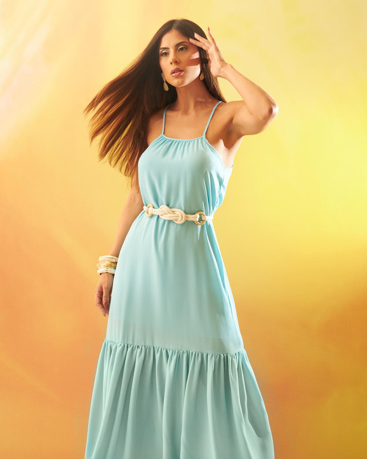 Vestido Longo Azul Claro com Cinto