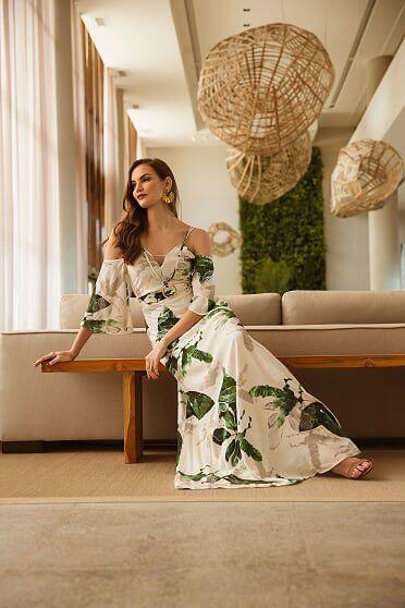 Vestido Longo com Detalhe verde e branco