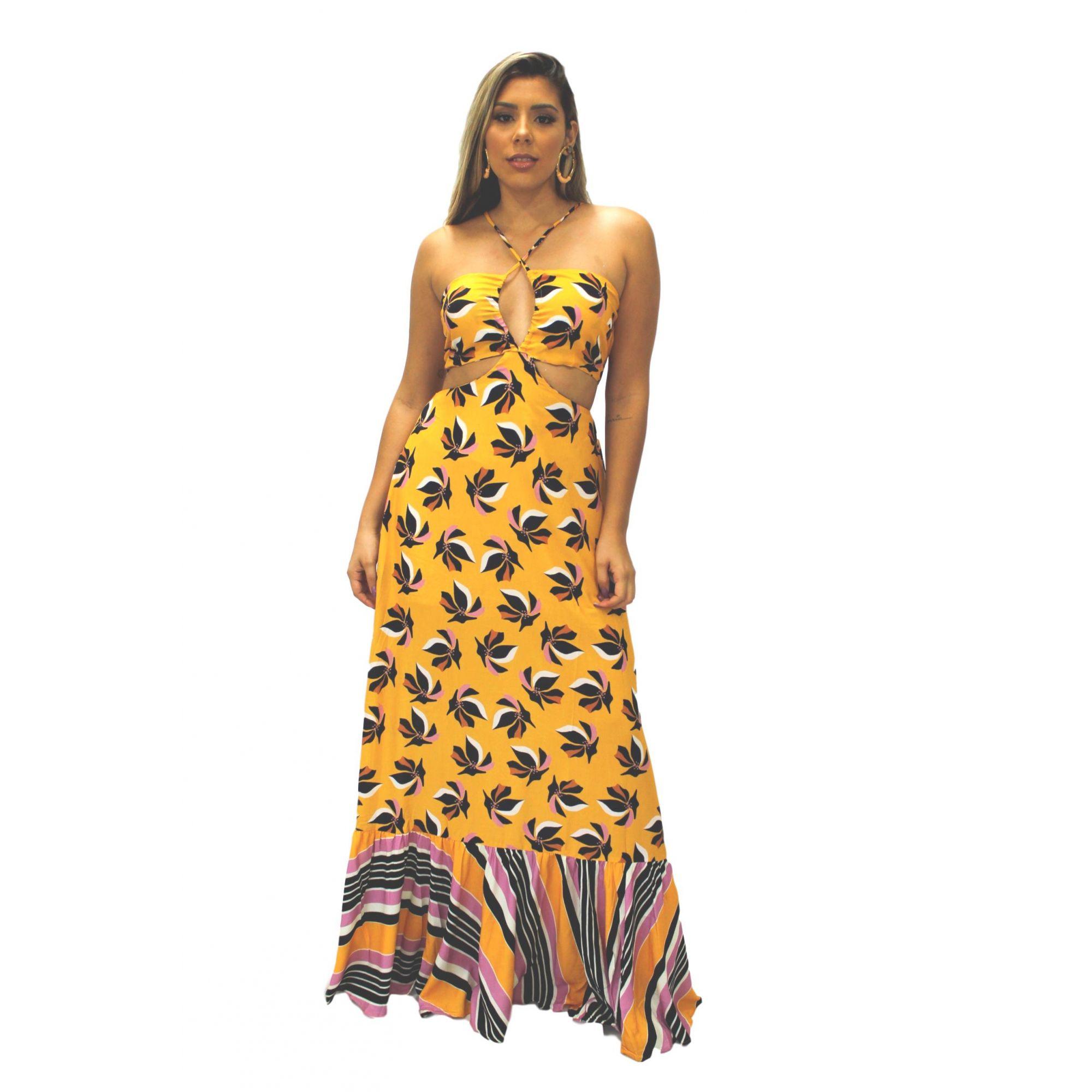 Vestido Longo Mix Estampa Floral e Listras