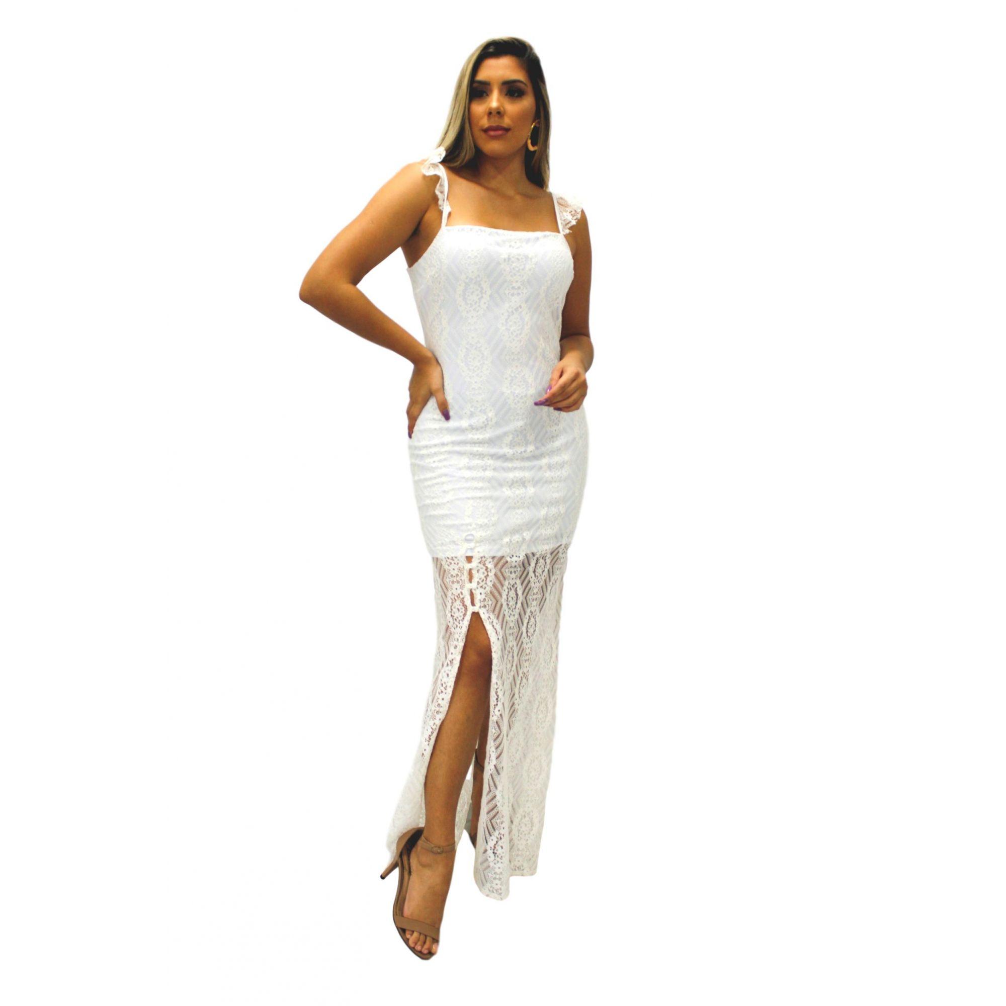 Vestido Longo Renda Branco com Alça