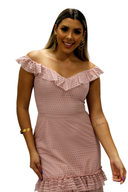 Vestido Longo Rosa Tule