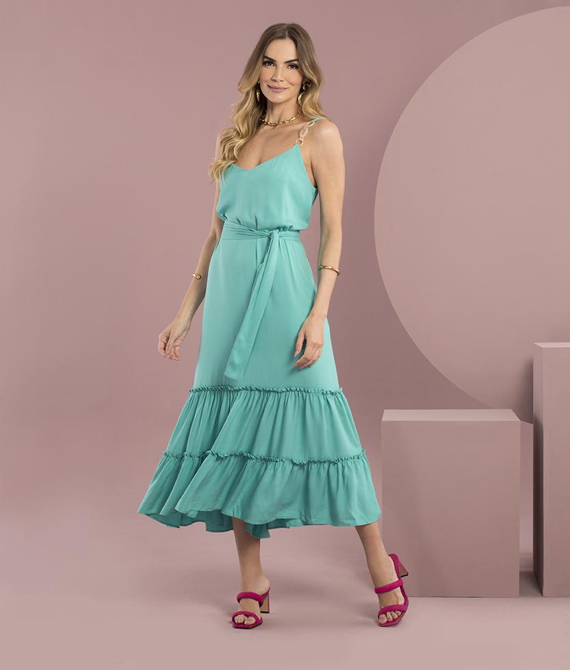 Vestido Longo Verde com Faixa Plus Size