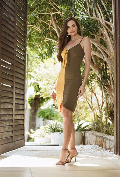 8beaf28c9 Vestido Curto mostarda/verde oliva - VANKOKE - Moda Feminina ...
