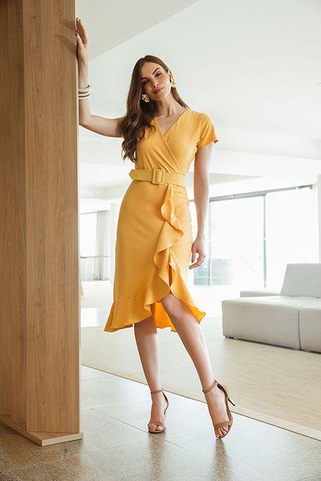 a4ffb1a96 Vestido Chanel com Babado e Cinto - VANKOKE - Moda Feminina ...