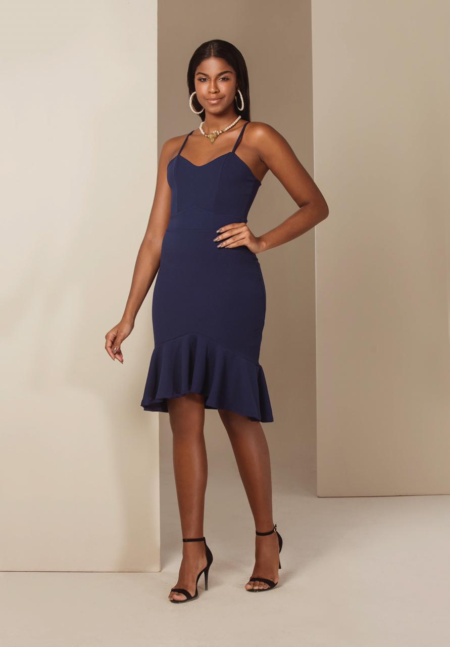698c02656 Vestido Chanel Peplum Azul de Alça - VANKOKE - Moda Feminina ...