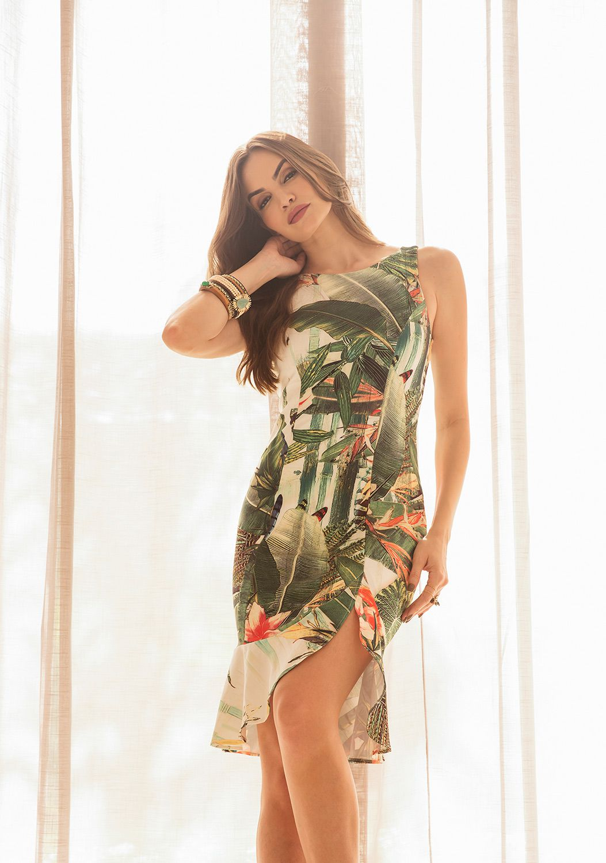 Vestido Chanel com Fenda estampa floral