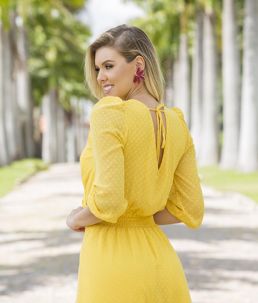 Vestido Midi com Máscara Amarelo