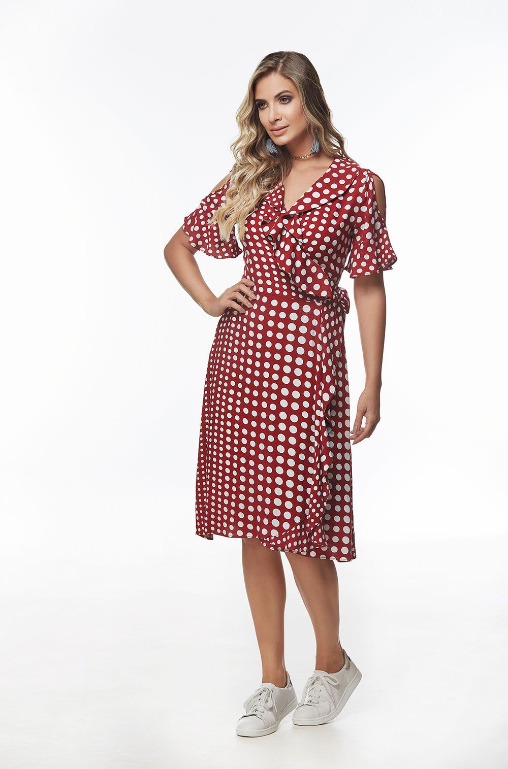b020c36b94 Vestido Chanel Poá Vermelho - VANKOKE - Moda Feminina - Vestidos ...