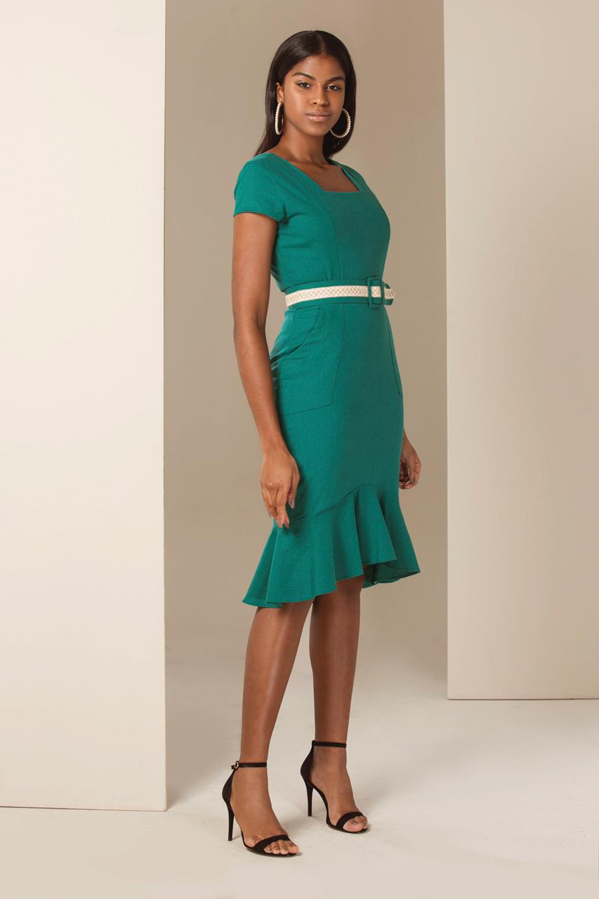 4acee4a32 Vestido Chanel Peplum de Linho - VANKOKE - Moda Feminina - Vestidos ...
