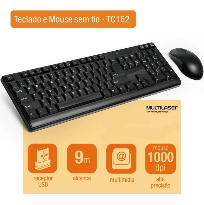 Combo Teclado e Mouse Multimidia sem Fio Multilaser