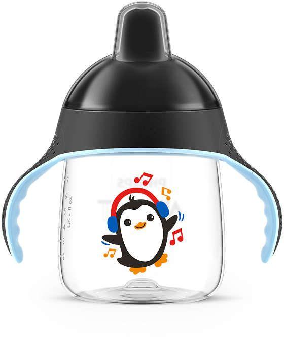 Copo Pinguim Philips Avent Preto 340mL com Bico de SIlicone