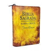 ARC045HLMFBZ - Bíblia Sagrada - Harpa Cristã - Fonte de Bênçãos - Zíper - Flores Amarela