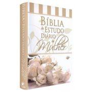 Bíblia de Estudo Diário da Mulher Sem Concordância - Rosa Branca - Capa Reversível