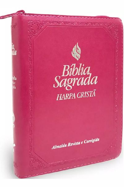 ARC045HLMZFB - Bíblia Sagrada - Harpa Cristã e Índice - Zíper - Pequena - Pink