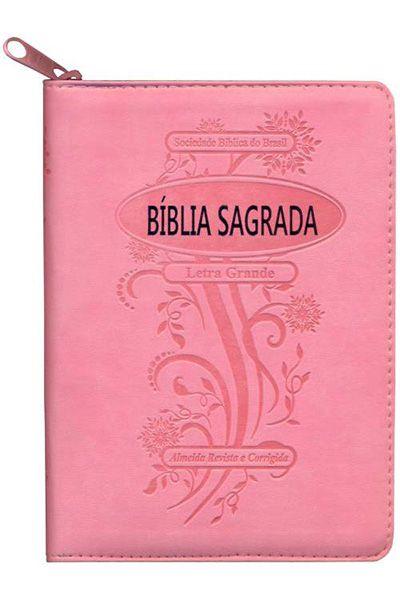 ARC045TIZLG - Bíblia Sagrada ARC Com Letra Grande - Rosa Claro